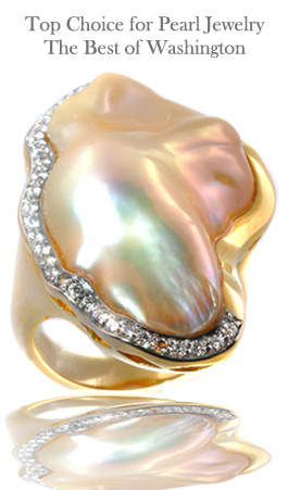Ikecho pearl ring with diamonds