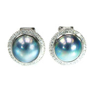 14kt White Earrings with Blue Mabe Pearls and Diamonds