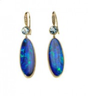 14kt Yellow Gold Opal, Aquamarine and Diamond Earrings