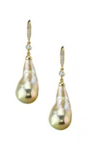 14kt Ikecho Pearl and Diamond Dangle Earrings