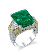 Platinum and 18kt Emerald and Diamond Ring