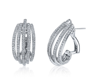 18kt White Gold Omega Back Diamond Multi Row Earrings