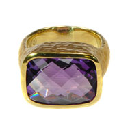 14kt Yellow Gold and Checkerboard Amethyst Ring