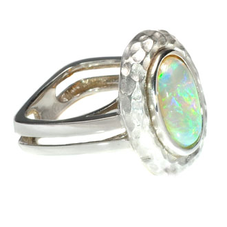 14kt white gold and black opal ring adeler jewelers
