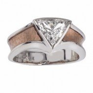 Trillion Diamond Engagement Ring in Red Gold from Adeler Jewelers