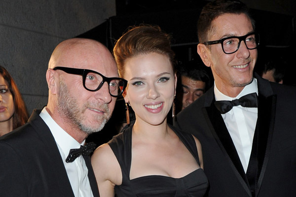 image of scarlett johansson wearing adeler gold & garnet earrings