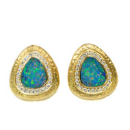 14kt Yellow Gold Earrings with Opals and Diamonds