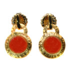 14kt Yellow Gold Earrings with Carnelia