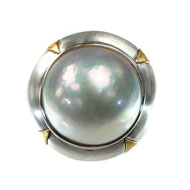Sterling Silver and 14kt Yellow Gold Ring with Mabe Pearl