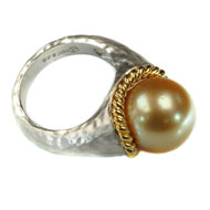 18kt Yellow Gold and Sterling Silver Ring with South Sea Gold Pearl