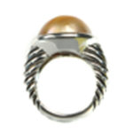 Sterling Silver Ring with Golden Mabe South Sea Pearl