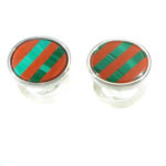 Sterling Silver Cufflinks with Jasper and Malachite