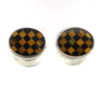 Sterling Silver Cuff Links with Tiger Eye and Black Onyx