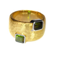 14kt Two Toned Gold and Green Tourmaline Ring