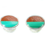 Sterling Silver Cuff Links with Gold Stone and Malachite