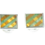 Sterling Silver Cuff Links with Jade and Tiger Eye