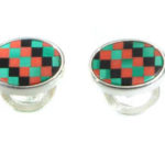 Sterling Silver Cuff Links with Coral, Malachite, and Black Onyx