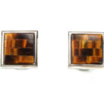 Sterling Silver Cuff Links and Tiger Eye
