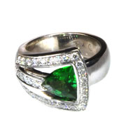 14kt White Gold, Tsavorite and Diamond Ring