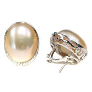 14kt White Gold and Ikecho Pearl Earrings with Diamonds