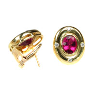 18kt Yellow Gold, Pink Tourmaline and Diamond Earrings