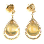 14kt Yellow Gold, Mexican Fire Opal and Diamond Earrings