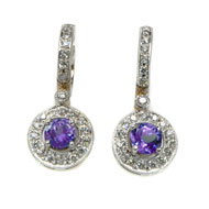14kt White Gold, Tanzanite and Diamond Earrings