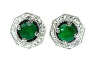 18kt White Gold, Emerald and Diamond Earrings