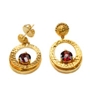 14kt Yellow Gold and Garnet Earrings