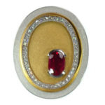 14kt Two Toned Gold, Ruby, and Diamond Pendant