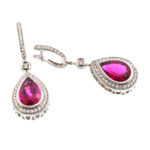 14k White Gold Diamond and Tourmaline Earrings