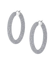 18kt Gold and Diamond Inside Out Hoop Earrings