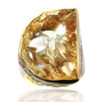 14kt Cleaved Citrine Ring with Diamonds