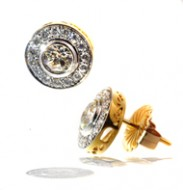 14kt Two Toned Gold and Diamond Donut Stud Earrings