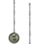 14kt White gold, Tahitian Black Pearl and Diamond Dangle Earrings