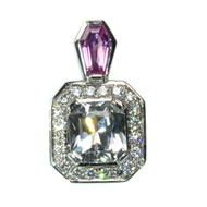 14kt White Sapphire, Pink Sapphire and Diamond Pendant