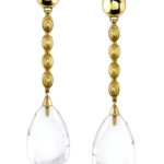 14kt Yellow Gold and Clear Quartz Dangle Earrings