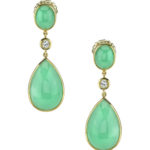 18kt Yellow Gold Post Earring featuring Chrisophrase Gemstones