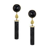 18kt Yellow Gold Druzy Black Onyx Earrings