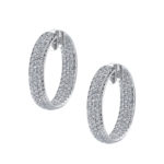 14kt White Gold and Diamond Hoops