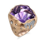 14kt Rose Gold Ring featuring Amethyst and Diamonds