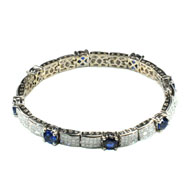 18Kt White Gold Bracelet with Diamonds and Blue Sapphires