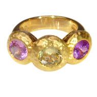 14kt Yellow Gold Pink and Yellow Sapphire Ring