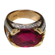 14kt Yellow Gold Ring with Pink Tourmaline and Diamonds