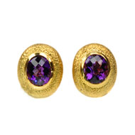 14Kt Yellow Gold Earrings with Amethyst