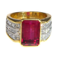 18kt Yellow Gold and Platinum Ring with Pink Tourmaline and Diamonds