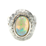 14kt White Gold and Black Opal Ring