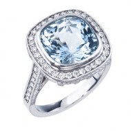 14kt white gold natural aquamarine and diamond custom designed ring by Adeler