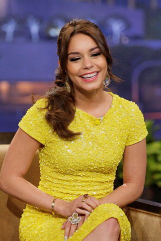 Vanessa Hudgens wearing an adeler gold citrine ring on the Tonight Show