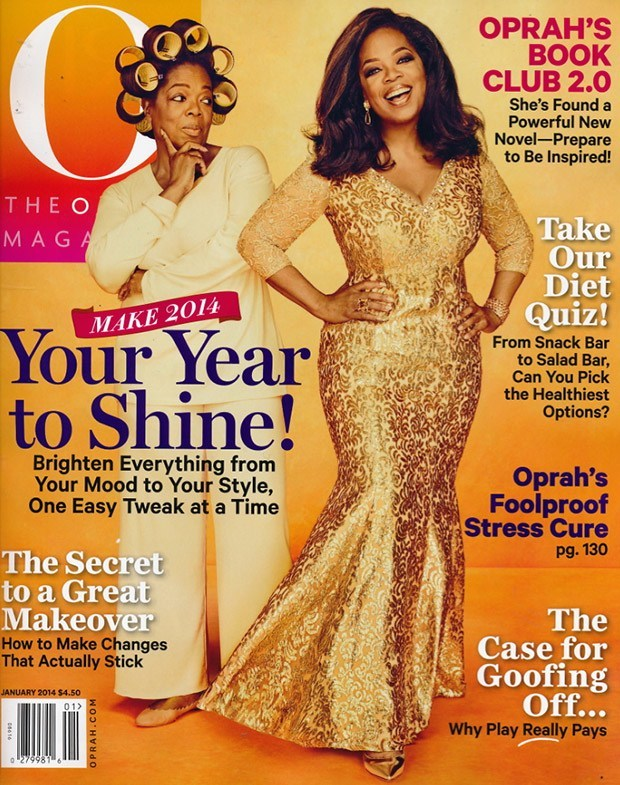 Oprah on the cover of O wearing Jorge Adeler jewelry
